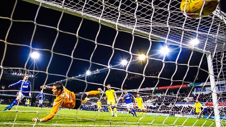 Brett Pitman scores the winner for Town in the Ipswich Town v Leeds United (Championship) match at P