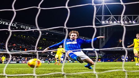 Brett Pitman throws himself at Ryan Fraser's cross but can't deflect it into the open goal during th