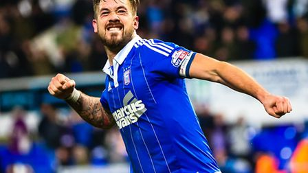 A fist pumping Luke Chambers celebrates after the Ipswich Town V Leeds United (Championship) match a