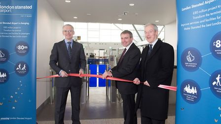 Stansted Airport managing director Andrew Harrison, Aviation Minister Robert Goodwill MP and Saffron
