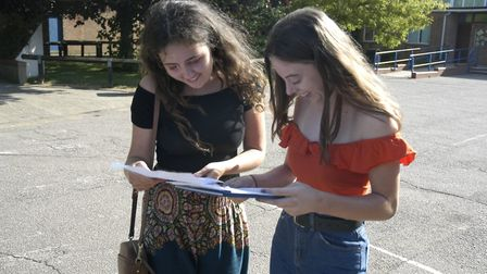 Students on GCSE results day at Diss High School. Picture: Simon Parkin