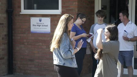 Students and teachers on GCSE results day at Diss High School. Picture: Simon Parkin