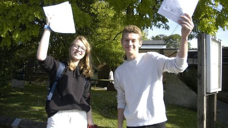 Pheobe Court and Finn Zaal celebrate their GCSE results at Diss High School. Picture: Simon Parkin