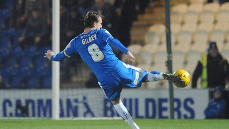 Alex Gilbey lets fly with this injury-time strike that was superbly saved by keeper Chris Maxwell, d