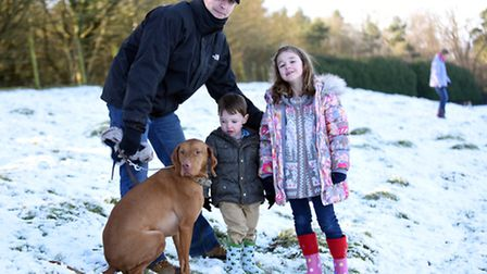 Haughley Park was a blanket of white on the morning of Sunday 17th January. L-R Dave, Theo and Imog