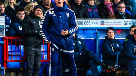 Town manager Mick McCarthy vocal on the touchline during the Ipswich Town v Preston North End (Cham