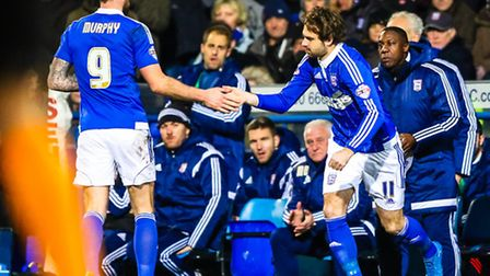 Brett Pitman comes on for Daryl Murphy during the Ipswich Town V Leeds United (Championship) match a