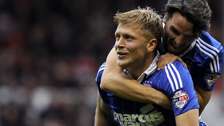 Jonathan Parr celebrates scoring for Ipswich with a second half volley at Nottingham Forest