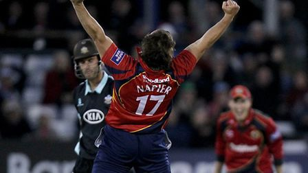 Graham Napier celebrates a hat-trick of wickets - 03.06.2013 Chelmsford, Essex. YB40, Yorkshire Bank