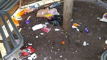 Litter problems in the shelter in Diss Park. Picture: Diss Town Council