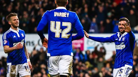 Tommy Oar celebrates getting the first goal in the Ipswich Town v Portsmouth (Emirates FA Cup Third