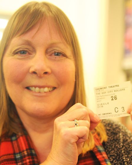 Bay City Rollers fan Heather Lindsell with her original 1975 ticket. Photo: Lucy Taylor