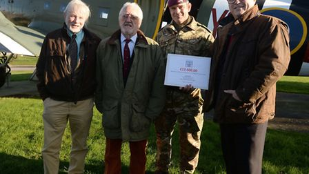 from left, Peter Cockwill, of Albury Game Angling; Bernard Cribbins; Lieutenant Colonel Bruce Radbou
