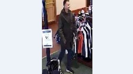 CCTV images featuring a man police want to speak to after a theft from a golf club.
