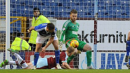The ball bounces off Dean Gerken and into the net but it was disallowed by the referee