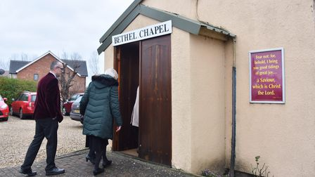 Workshippers entering the final service at the former Bethel Chapel in Diss. Picture: Sonya Duncan