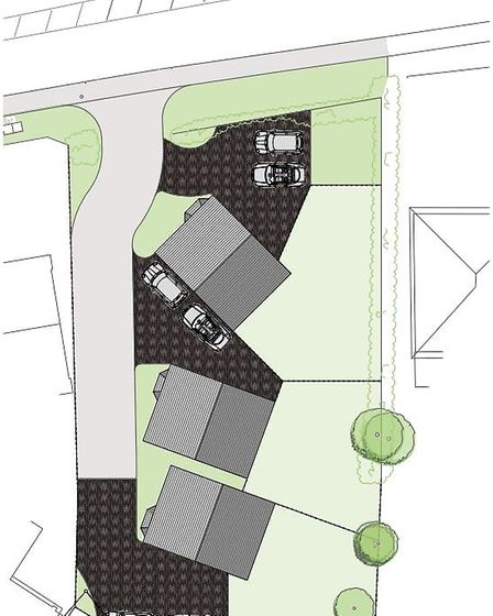 Indicitive site layout plans for three new houses on the site of the Bethel Chapel in Diss. Picture: