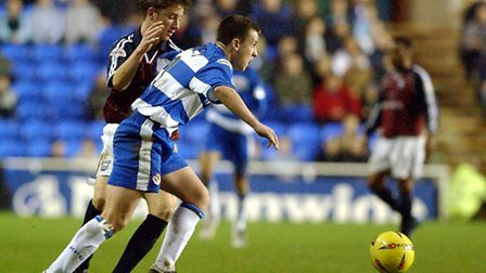 Colchester United's new signing, Nicky Shorey, seen here playing for Reading against Ipswich's Dean