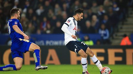 Tottenham's Nacer Chadli scores his side's second goal in a 2-0 win at Leicester City tonight, to bo