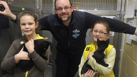 Centre manager Andrew Gillon with members of the 1st Old Felixstowe Brownies at the Felixstowe Blue