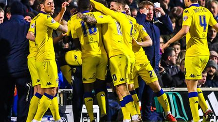 Leeds United celebrate their opening goal during the Ipswich Town v Leeds United (Championship) matc