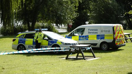 Police investigation under way in Diss Park. Picture: Simon Parkin