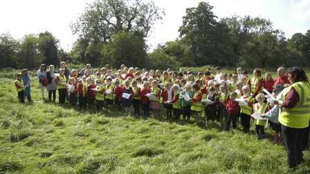 Pupils from Hempnall Primary School at the opening of the new Miss Emery Bridge that links the schoo