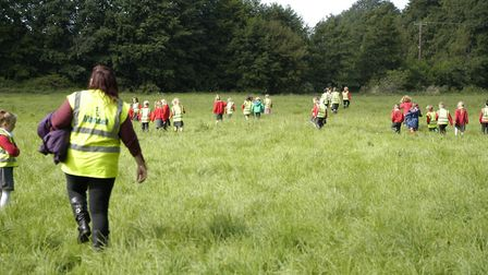 Pupils from Hempnall Primary School get to enjoy wildlife meadows after using the new Miss Emery Bri