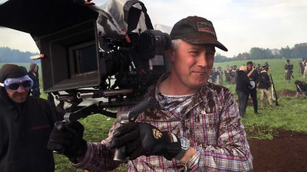 Steven Hall man-handling his camera - behind the scenes on the BBC production War & Peace