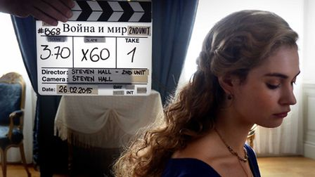 Lily James behind the scenes on the BBC production War & Peace