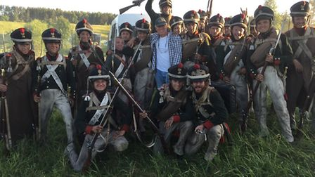Steven Hall with extras behind the scenes on the BBC production War & Peace