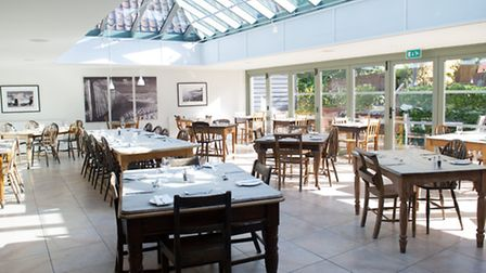 The bright sun room at The Westleton Crown.