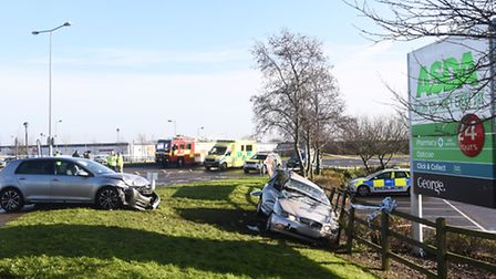Two car incident on Asda Roundabout, Ipswich