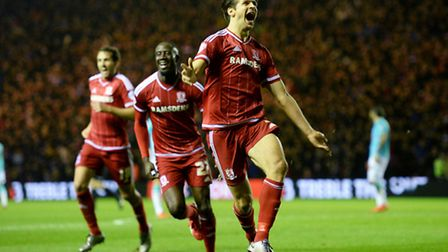 Middlesbrough's George Friend celebrates after scoring his side's second goal during the Sky Bet Cha