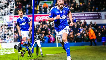 Luke Chambers celebrates his injury time winner for Town in the Ipswich Town v Queens Park Rangers (