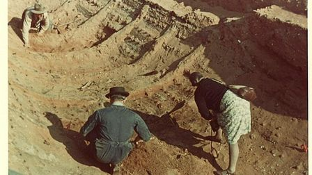 Sutton Hoo excavations in 1939 with Basil Brown (back) Charles Philips (left) and Barbara Wagstaff a