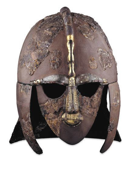 The world famous Saxon helmet unearthed at Sutton Hoo. Picture: British Museum