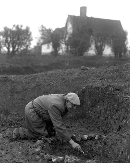 Achaeologist Basil Brown working at Rickinghall in Feburary 1964. Picture: Suffolk Archaeological Un