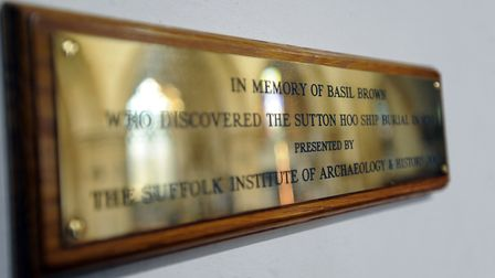 The Basil Brown memorial plaque at Rickinghall Inferior Church (St Mary's). Picture: Phil Morley