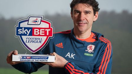 Middlesbrough manager Aitor Karanka is the Championship's manager of the month for December.