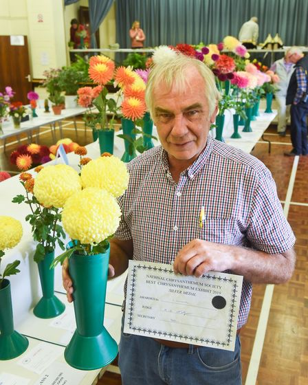 Graham Lanchester won for his chrysanthemums at the Diss & District Horticultural Society early autu