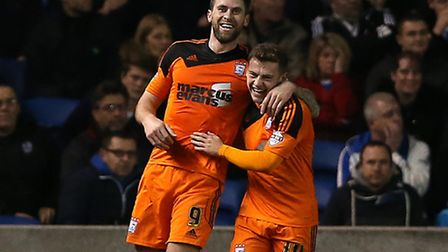 Ipswich Town's Daryl Murphy (left) celebrates scoring his side's first goal of the game with team-ma