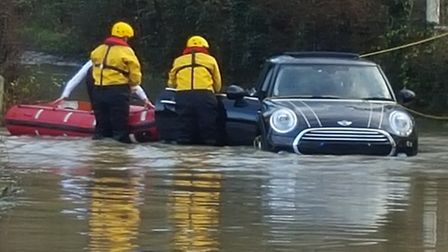 Firefighters rescuing the motorist. Image courtesy of Essex County Fire and Rescue Service