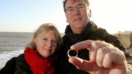 Richard Terry back on Aldeburgh Beach with his wife Joanna with his wedding ring after loosing it d