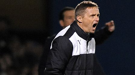 Kevin Keen giving out instructions at Gillingham on Monday