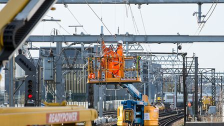 Network Rail engineers upgrading the track and electric wires near Shenfield over Christmas and the