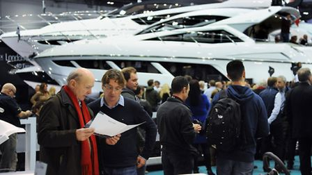 The 2015 CWM FX London Boat Show. Crowds around the Sunseeker stand. Picture: DENISE BRADLEY