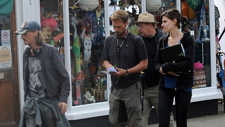 Filming of BBC comedy drama 'Detectorists' in Framlingham. Actor Mackenzie Crook on the set.
