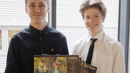 West Suffolk College students Aiden Young, 17, and Brad Collins 18, on the Tenner Challenge.