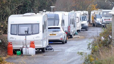 Travellers in Bury St Edmunds.
